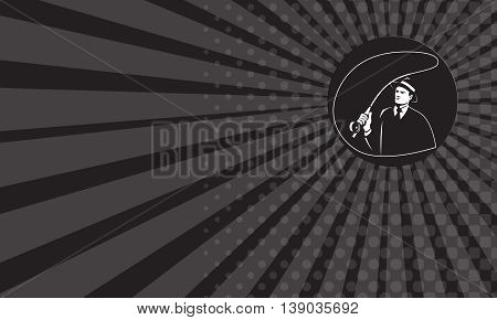 Business card showing illustration of a mobster gangster fly fisherman wearing suit tie and hat fishing casting fly rod set inside circle on isolated background done in retro style.