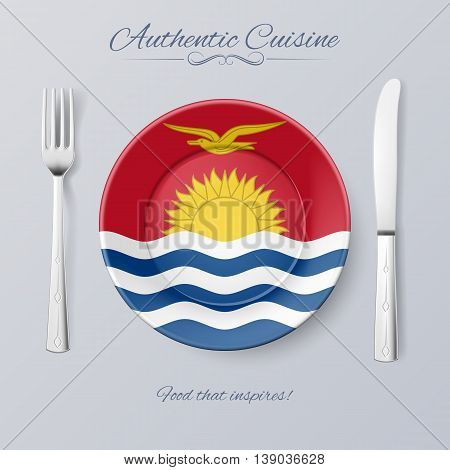Authentic Cuisine of Kiribati. Illustration with a Plate and Cutlery