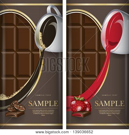 Set of label for dark chocolate with coffe and with strawberry. Grouped for easy editing.