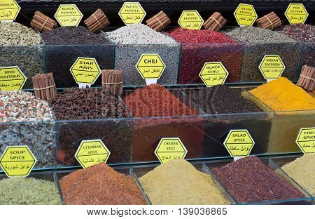 Various spices on a counter on the Grand Bazaar in Istanbul Turkey