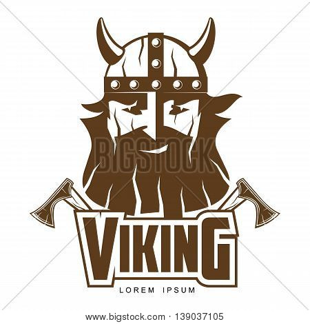 Viking head with a beard and axes illustration logo isolated on a white background design logo bearded Viking warrior with a horned helmet, a symbol of strength, Viking warrior man logo design
