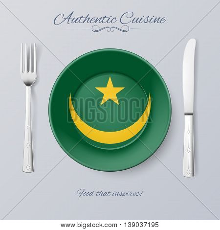 Authentic Cuisine of Mauritania. Plate with Mauritanian Flag and Cutlery