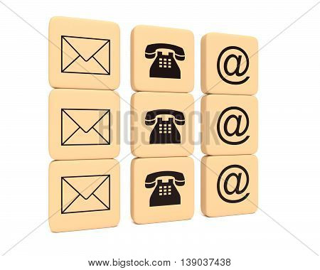Contact icons on wooden pieces 3d illustration