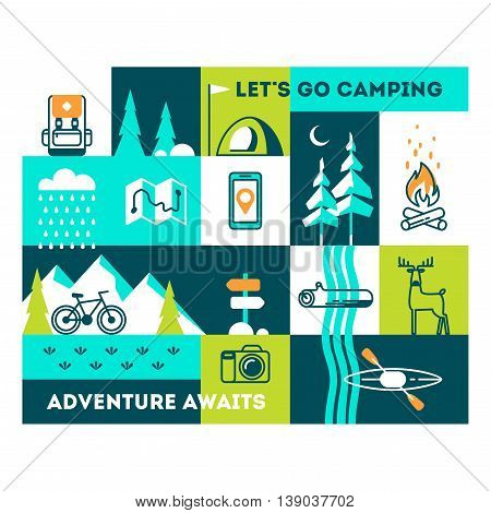 Summer vacation in nature. Vector concept illustrations with icons of travel and holiday. Motivational text