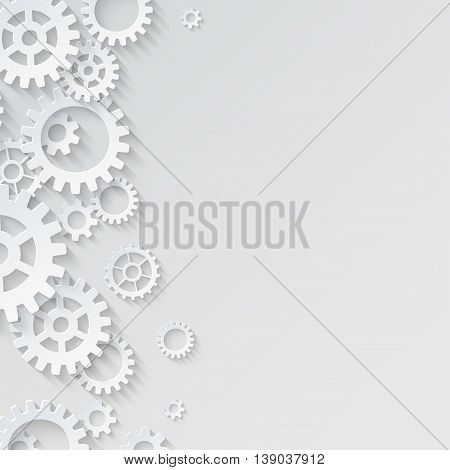 Vector abstract 3d mechanical background. Gears and cogs background