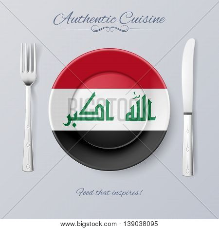 Authentic Cuisine of Iraq. Plate with Iraqi Flag and Cutlery