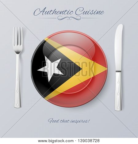 Authentic Cuisine of East Timor. Plate with Flag and Cutlery