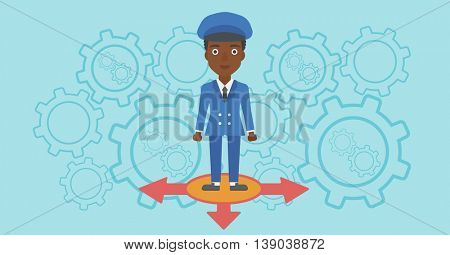 An african-american young woman standing on three alternative ways on a blue background with cogwheels. Concept of career choices. Vector flat design illustration. Horizontal layout.
