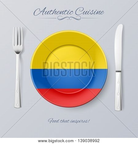 Authentic Cuisine of Colombia. Plate with Colombian Flag and Cutlery