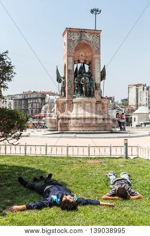 Young Homeless Men Sleep On Taksim Square