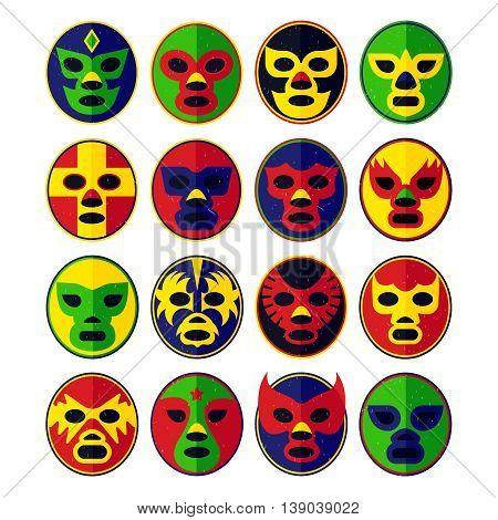 Mexican Lucha Libre Wrestling Masks. Vector Illustration.