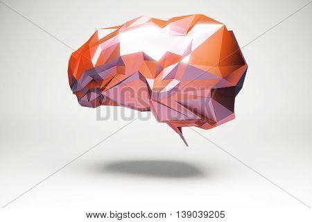 Brainstorming and creative thinking concept with abstract floating red polygonal brain and shadow on light background. 3D Rendering