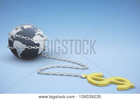 gold dollar is linked to the earth of chain. 3D Rendering