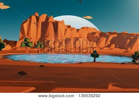 Abstract polygonal landscape with pond mountains trees and night sky with huge moon. 3D Rendering
