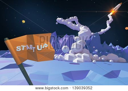 Start up concept with abstract polygonal planet flag with text and launching rocket ship. 3D Rendering