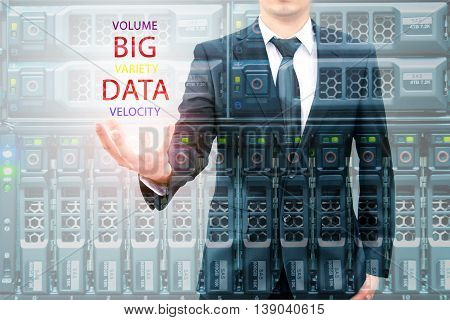 Double Exposure Of Businessman Holding Big Data Information And Server Storage In Data Center, It Bu