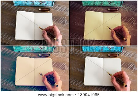 Photo Collage With Various Retro Effects Of A Woman Hand Writing A Note