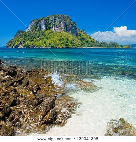 Beautiful Beach And Clear Sea Water In Relaxing Day, Krabi, Southern Of Thailand