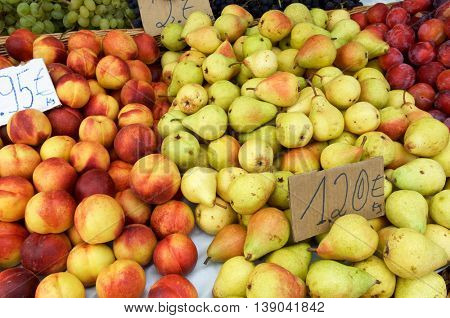 fruit for sale in boxes of wood and wicker in Madeira Island