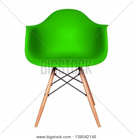 Green color chair, modern chair isolated on white background. Plastic furniture chair cut out.