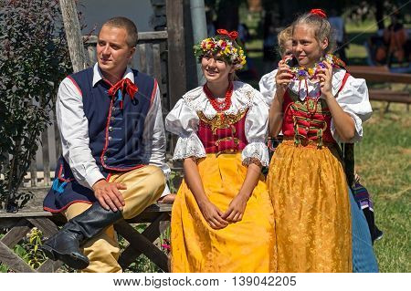 ROMANIA TIMISOARA - JULY 10 2016: Young dancers from Poland in traditional costume present at the international folk festival