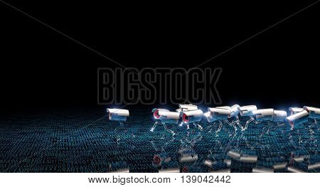 running cctv robot and binary code background 3d image