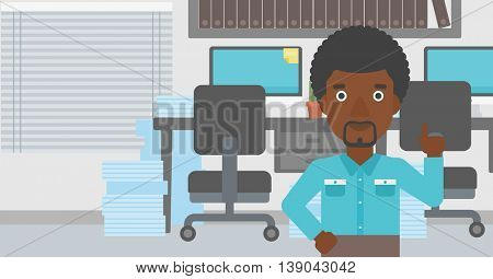 An african-american young businessman standing in the office and pointing up with his forefinger. Business idea concept. Vector flat design illustration. Horizontal layout.