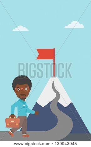An african-american businessman walking on a road leading to the flag on the top of the mountain. Vector flat design illustration. Vertical layout.