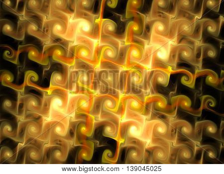 Abstract fantasy yellow textured tiled background. Computer generated fractal in yellow color