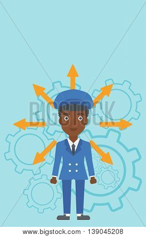 An african-american young woman with many arrows around her head standing on a blue background with cogwheels. Concept of career choices. Vector flat design illustration. Vertical layout.