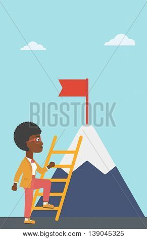 An african-american business woman standing with ladder near the mountain. Business woman climbing the mountain with a red flag on the top. Vector flat design illustration. Vertical layout.