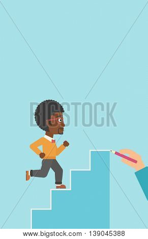 An african-american businessman running up the stairs drawn by hand with pencile. Concept of business career. Vector flat design illustration. Vertical layout.
