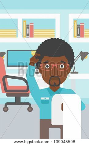 An african-american worried businessman standing in the office and holding a long bill. Concept of business bankruptcy. Vector flat design illustration. Vertical layout.