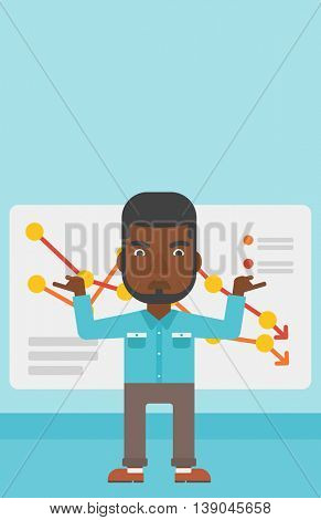 An african-american businessman standing on the background of a board with decreasing chart. Concept of business bankruptcy. Vector flat design illustration. Vertical layout.