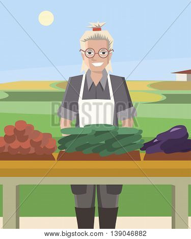 smiling woman farmer selling vegetables - colorful vector cartoon illustration