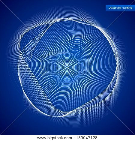 Abstraction white wave background, blue atmospheric wallpaper, vector design