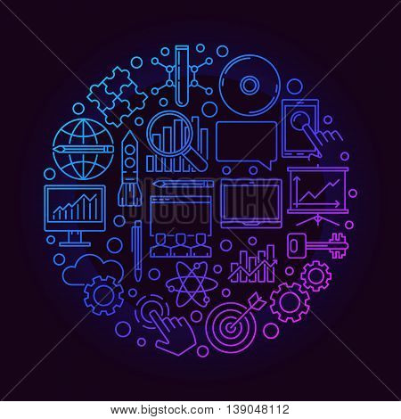 Innovation round bright symbol. Vector business innovation concept illustration made with linear icons on dark background
