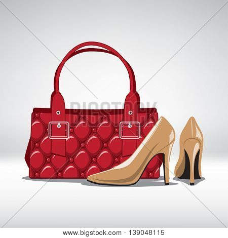 Set of season trendy colors accessory. Woman high heel shoes and Handbag. Vector illustration
