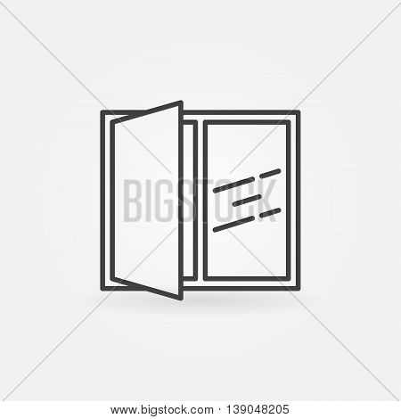 Open window line icon. Vector linear concept house window symbol or logo element