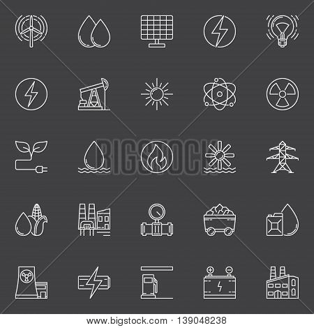 Power and energy outline icons. Vector industrial symbols or energy signs in thin line style on dark background