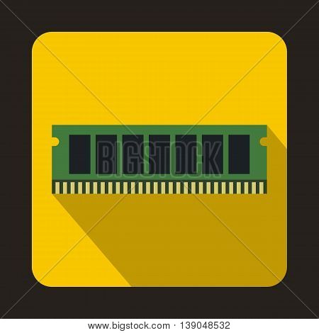 DVD RAM module for the personal computer icon in flat style on a yellow background