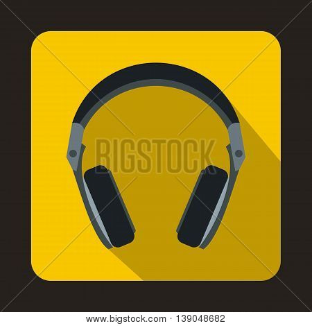 Headphones icon in flat style on a yellow background