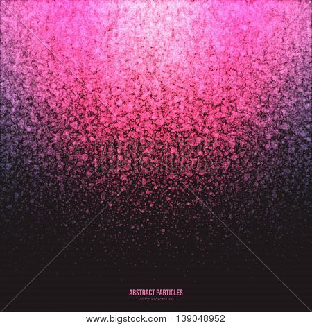 Abstract bright pink shimmer glowing round fall particles vector background. Star dust effect. Falling scatter shine tinsel light explosion. Celebration holidays and party illustration