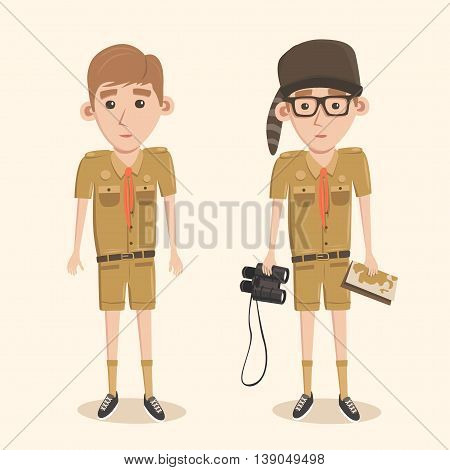 Boyscout with binoculars. Smart boy training to scout. Map in hand.