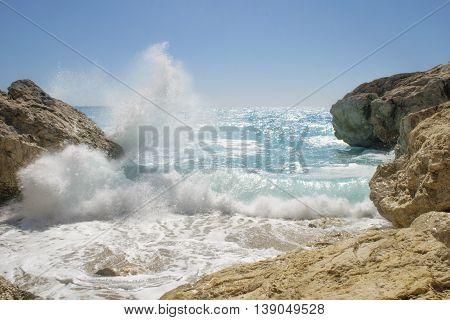 Kathisma Beach Lefkada Island in Ionian Sea Greece.