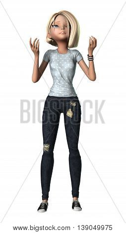 3D Rendering Teenage Girl On White