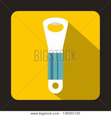 Branch of hops icon in flat style on a yellow background