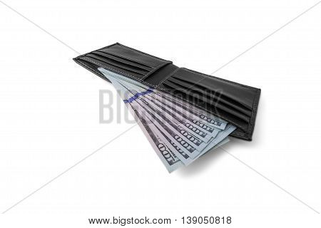 wallet with money isolated on white background payments savings shopping tax salary