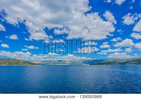 Idyllic waterfront view at Adriatic sea and Croatian coast during summertime, Croatia.