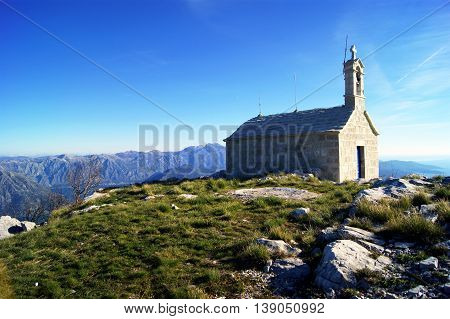 The building of the church in the mountains